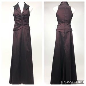 Tadashi Vintage collar ruched gown dress holiday
